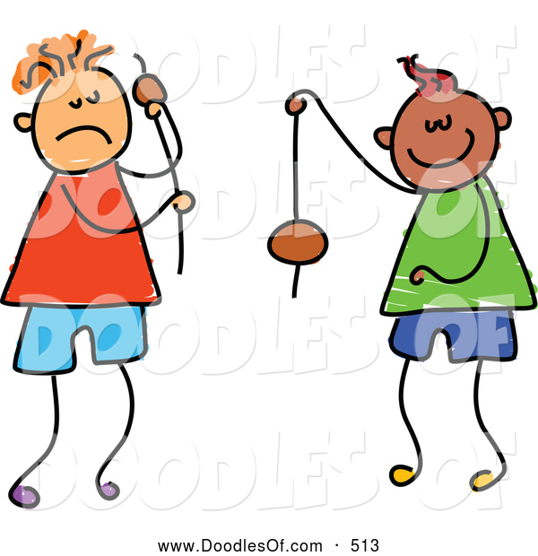 Vector Clipart of a Childs Sketch of Stick Figure Boys Playing Conkers