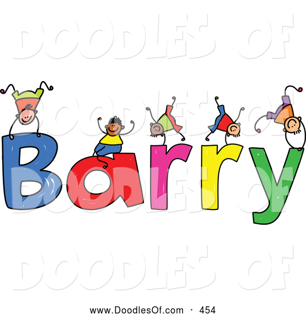 Vector Clipart of a Childs Sketch of Stick Figure Boys Playing on the Name Barry
