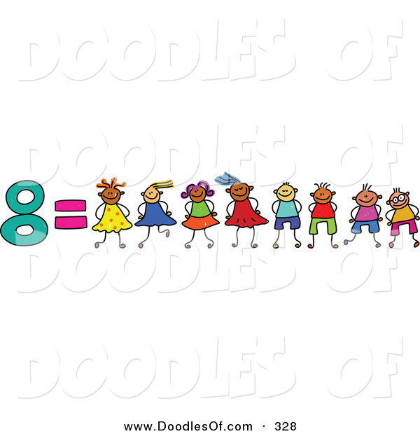 Vector Clipart of a Childs Sketch of the Number 8 Equals Eight Children on White