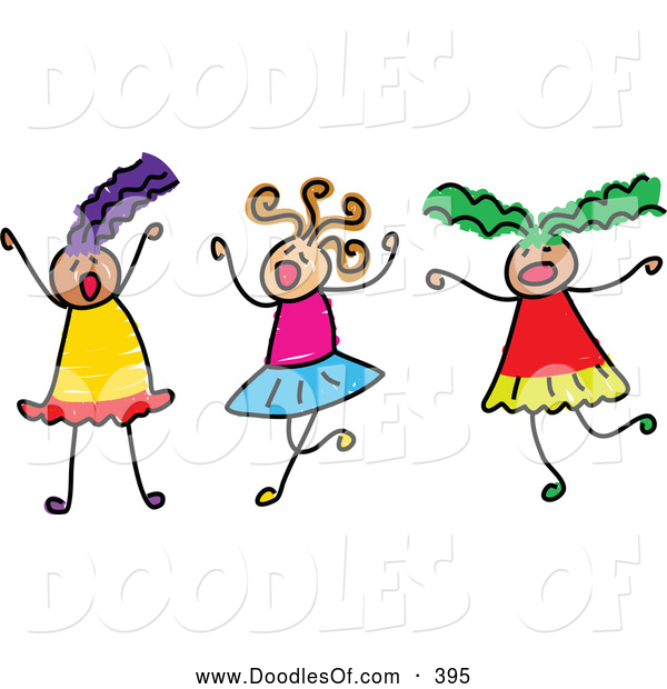 Vector Clipart of a Childs Sketch of Three Girls Playing Together on White