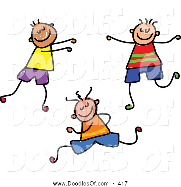 Vector Clipart of a Childs Sketch of Three Smiling Boys