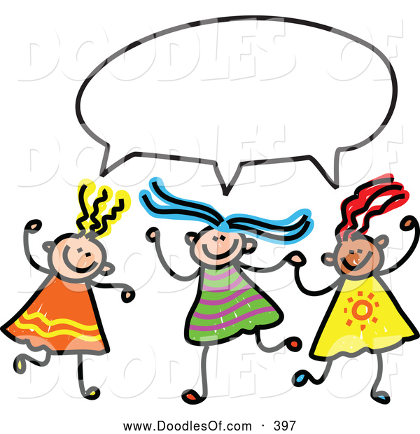 Vector Clipart of a Childs Sketch of Three Smiling Girls with a Word Balloon
