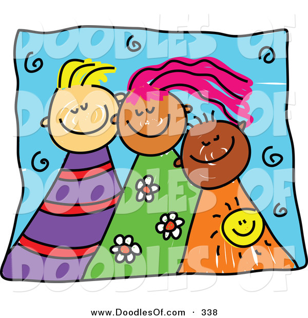Vector Clipart of a Childs Sketch of Three Smiling Kids