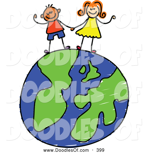 Vector Clipart of a Childs Sketch of Two Cheerful Children Holding Hands on a Globe