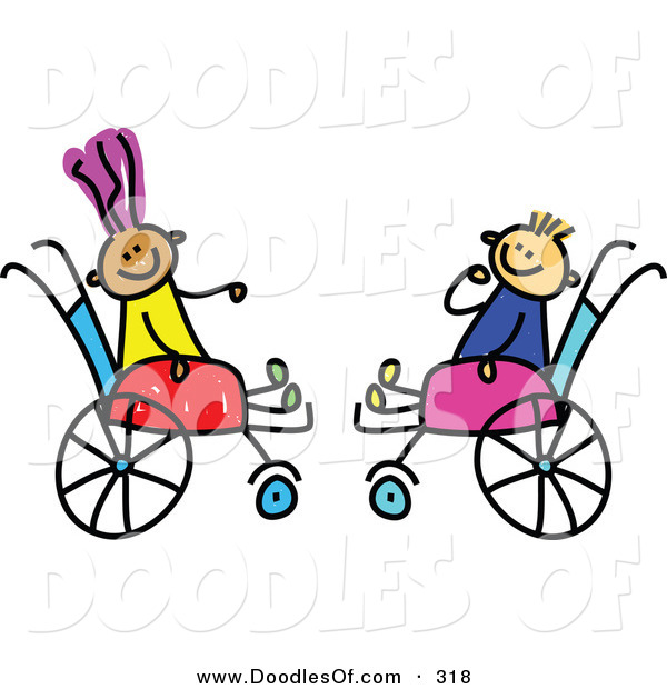 Vector Clipart of a Childs Sketch of Two Happy Kids in Wheelchairs
