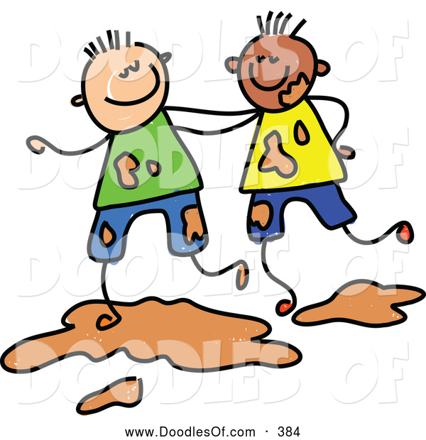 Vector Clipart of a Childs Sketch of Two Smiling Boys Playing in Mud
