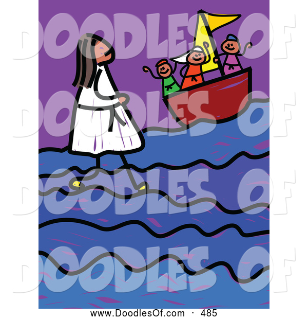 Vector Clipart of a Child's Stick Figure Sketch of Jesus Walking on Water