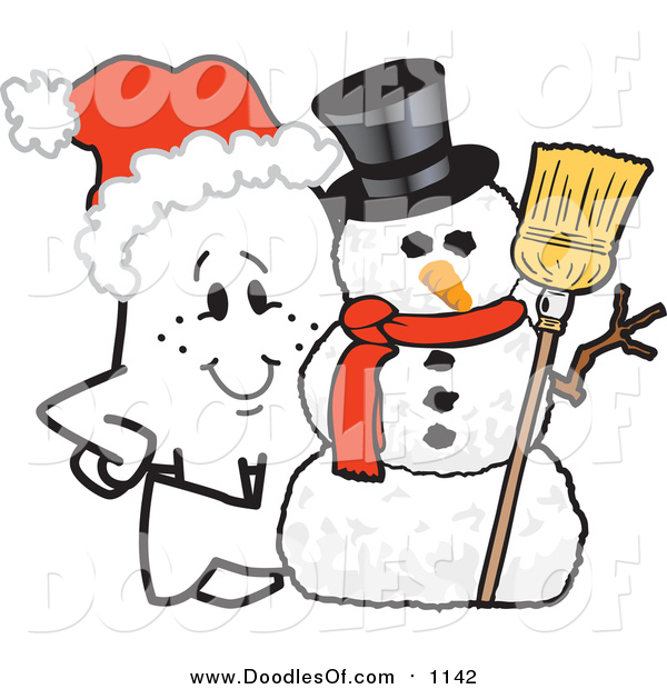 Vector Clipart of a Christmas Doodle Squiggle Guy by a Snowman