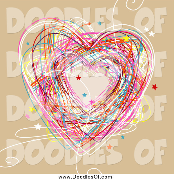 Vector Clipart of a Colorful Heart Doodle on Tan