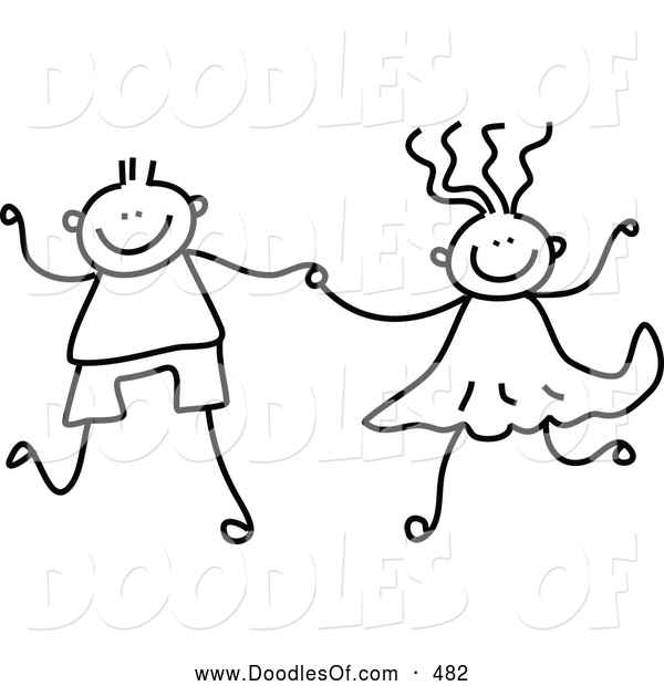 Vector Clipart of a Cute Black and White Boy and Girl Holding Hands