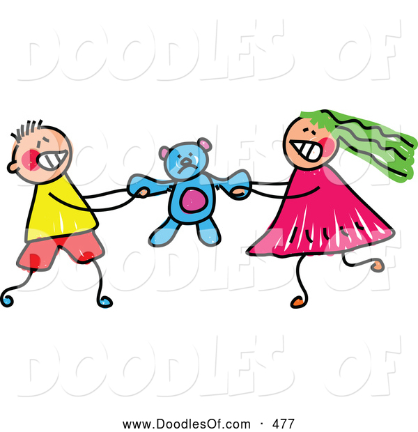 Vector Clipart of a Cute Boy and Girl Fighting over a Teddy Bear