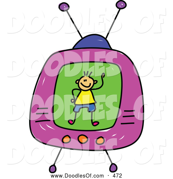 Vector Clipart of a Cute Boy on a Tv Screen