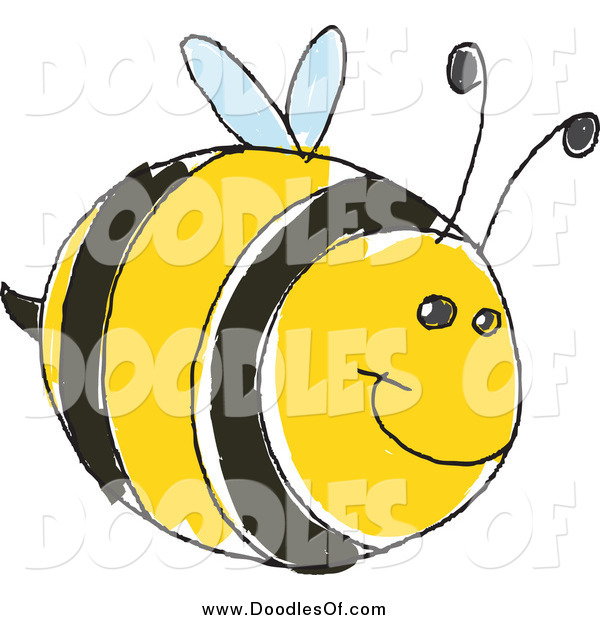 Vector Clipart of a Cute Doodled Bee