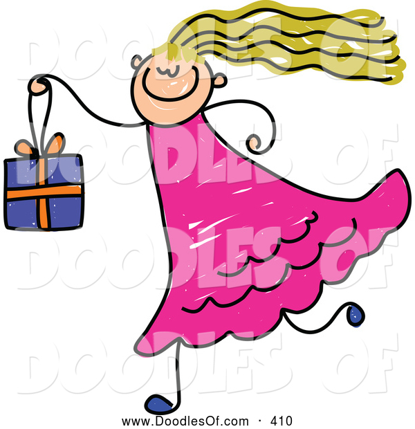 Vector Clipart of a Cute Girl Carrying a Gift Box