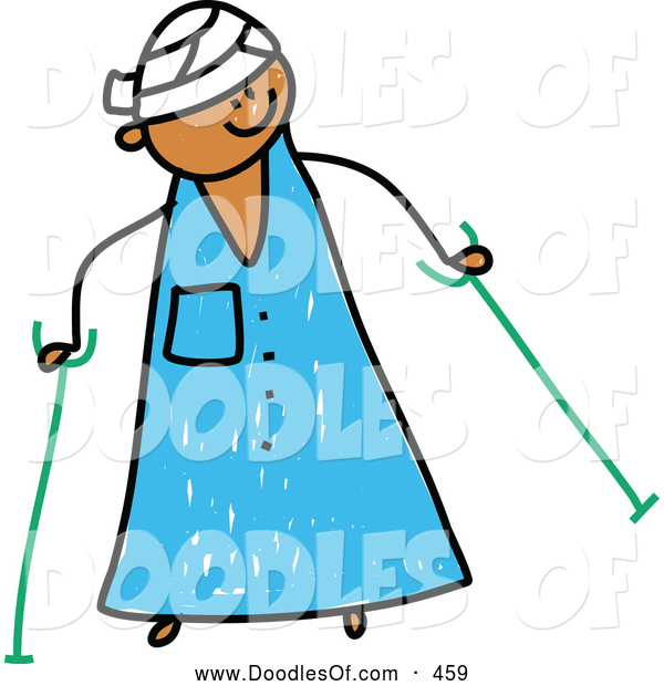 Vector Clipart of a Cute Kid in a Hospital Gown, Head Bandage, Using Crutches