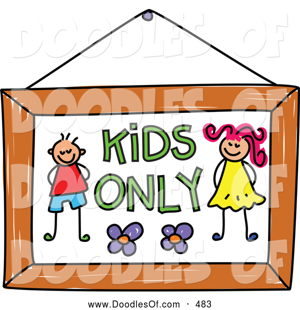 Vector Clipart of a Cute Kids Only Sign