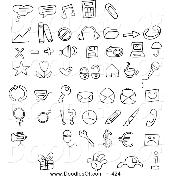 Vector Clipart of a Digital Collage of Black and White Coloring Page Doodled Icons