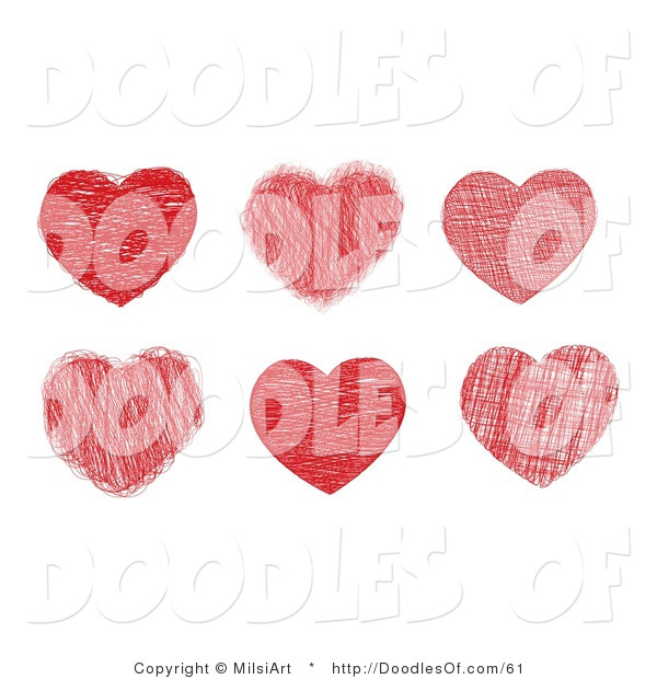 Vector Clipart of a Digital Collage of Six Doodled Valentine Red Hearts