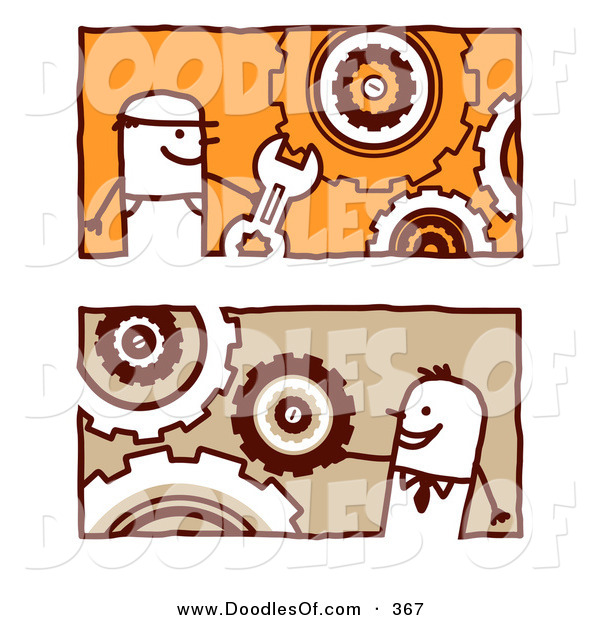 Vector Clipart of a Digital Collage of Stick Business Men with Interlocking Gear Cogs