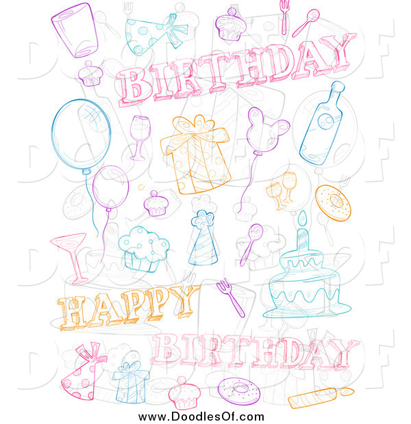Vector Clipart of a Doodle Birthday Collage