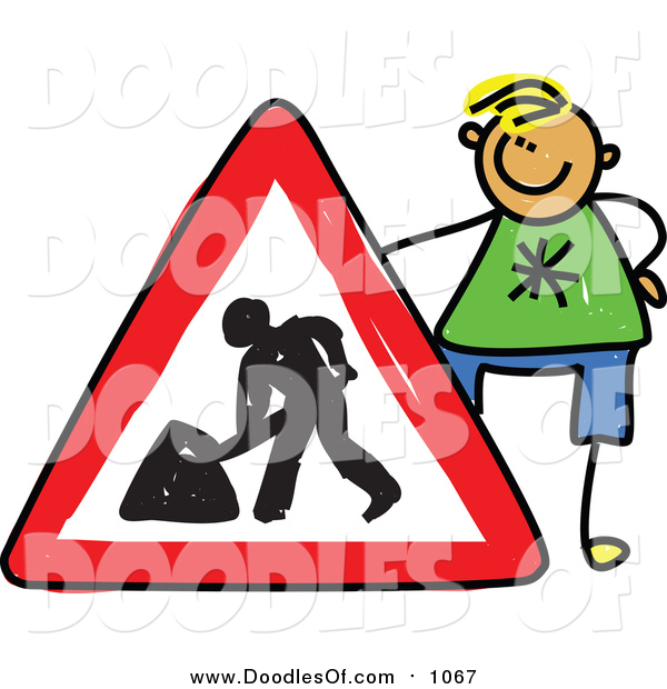 Vector Clipart of a Doodle Blond White Boy Holding a Dig Sign