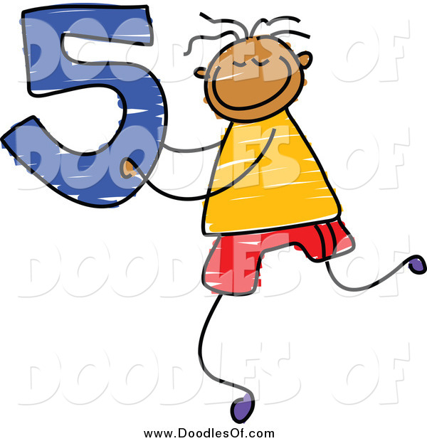 Vector Clipart of a Doodle Boy Holding the Number 5