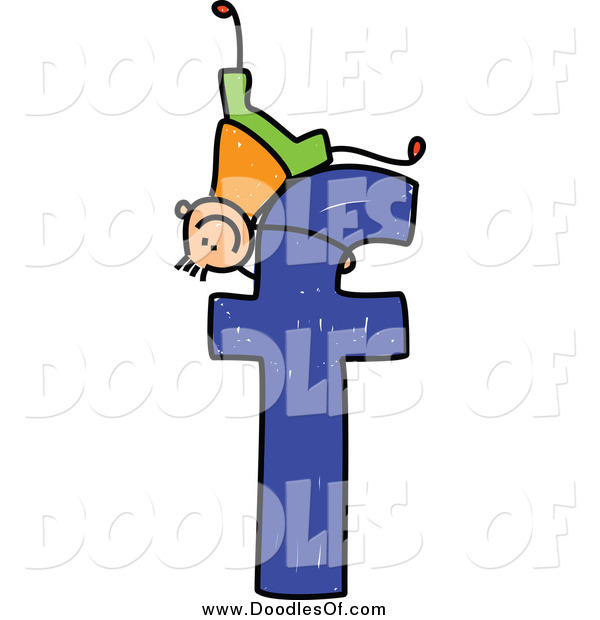Vector Clipart of a Doodle Boy Playing on a Lowercase Letter F