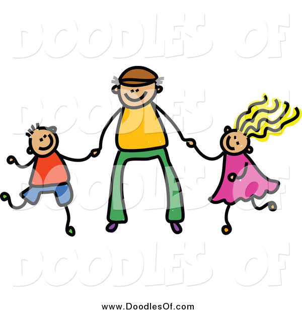 Vector Clipart of a Doodle Father Holding Hands with His Son and Daughter