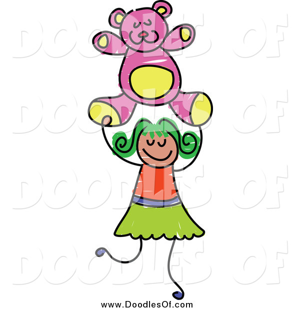 Vector Clipart of a Doodle Girl Holding a Pink Teddy Bear