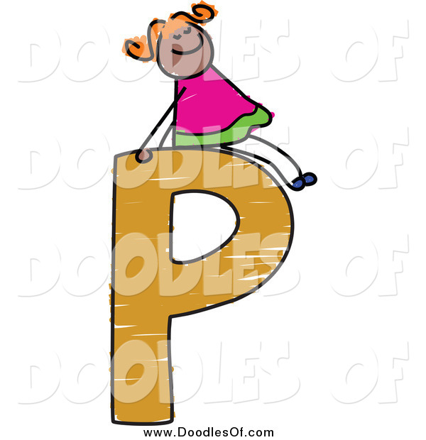 Vector Clipart of a Doodle Girl on a Capital Letter P