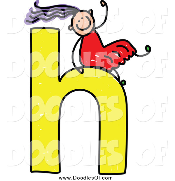 Vector Clipart of a Doodle Girl Sliding on a Lowercase Letter H