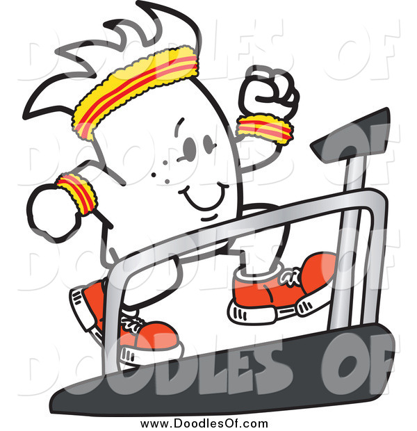 Vector Clipart of a Doodle Guy Running on a Treadmill