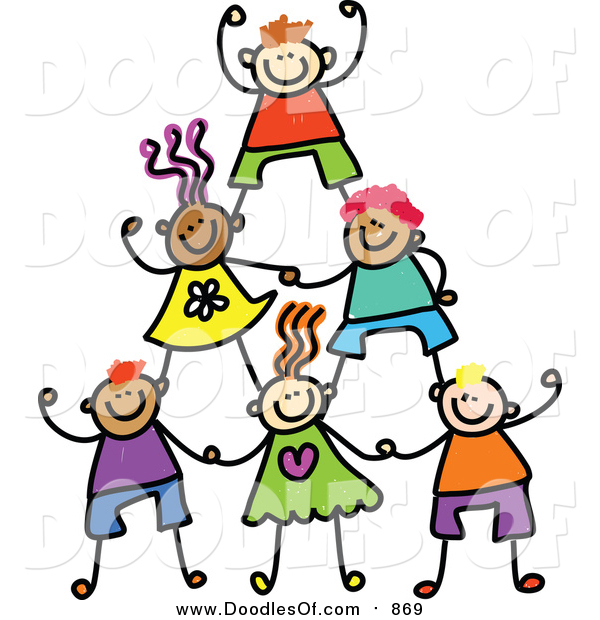 Vector Clipart of a Doodle Human Pyramid of Kids