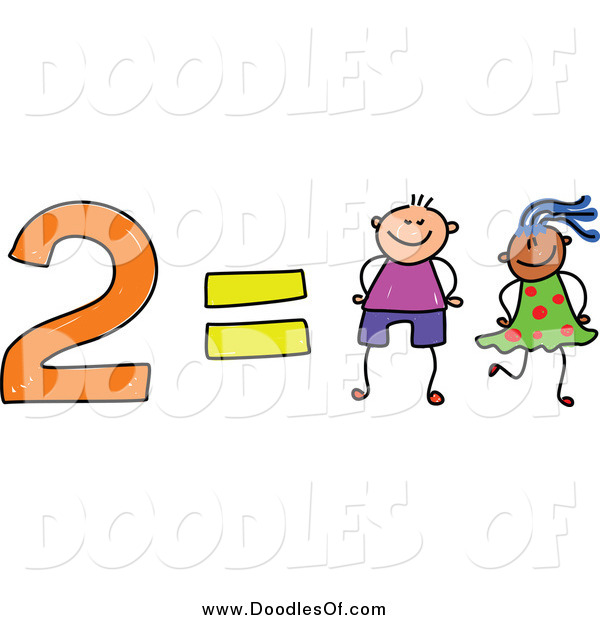 Vector Clipart of a Doodle of 2 Equals Two Kids