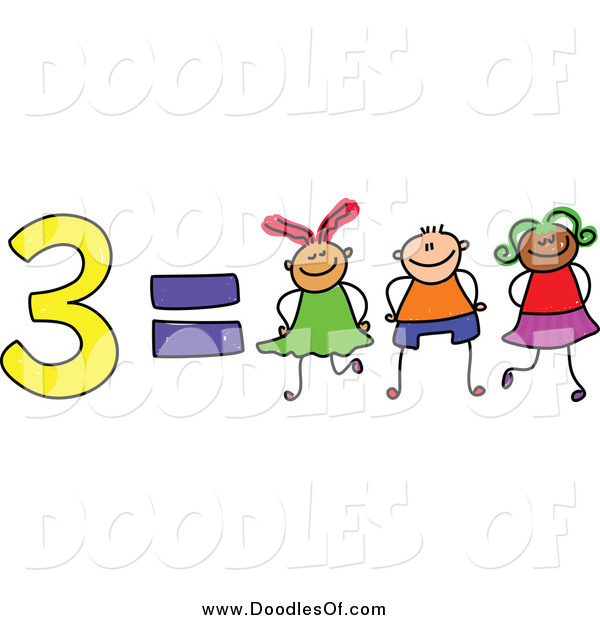 Vector Clipart of a Doodle of 3 Equals Three Kids