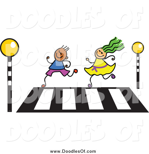 Vector Clipart of a Doodle of a Boy and Girl Running over a Crosswalk