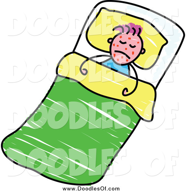 Vector Clipart of a Doodle of a Sick Boy with Red Splotches