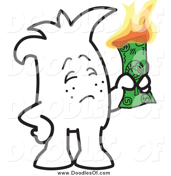 Vector Clipart of a Doodle of a Squiggle Guy Burning Money