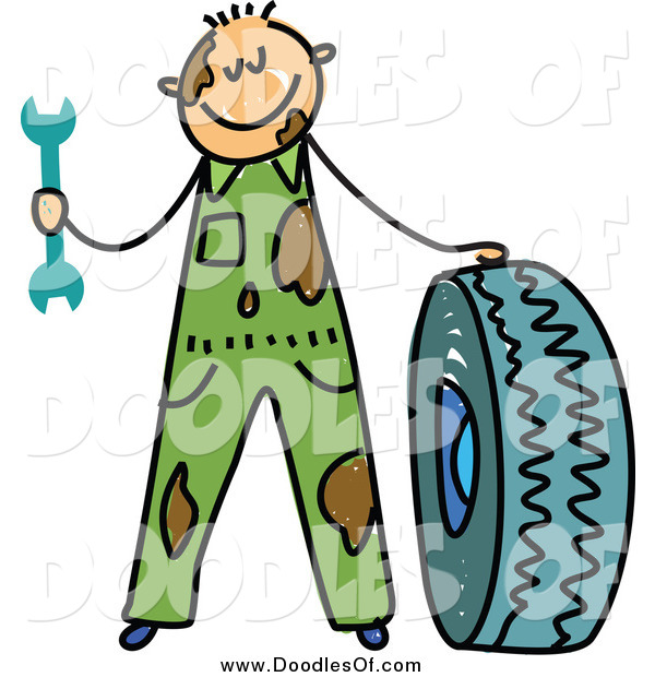 Vector Clipart of a Doodle of a White Dirty Mechanic Boy with a Tire