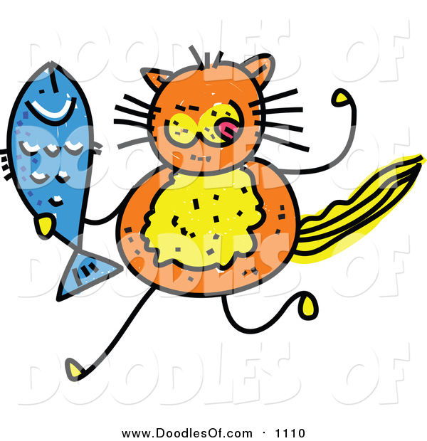 Vector Clipart of a Doodle of an Orange Cat Holding a Fish