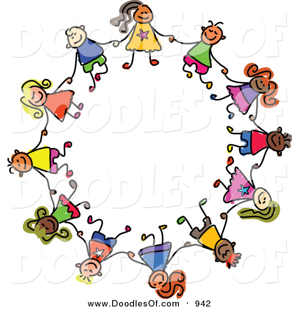 Vector Clipart of a Doodle of Boys and Girls in a Circle, Holding Hands