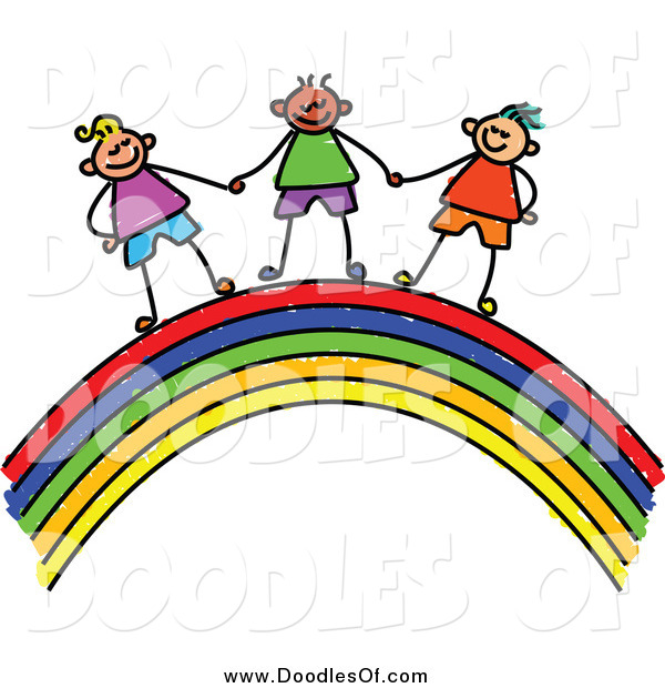 Vector Clipart of a Doodle of Boys Holding Hands on a Rainbow