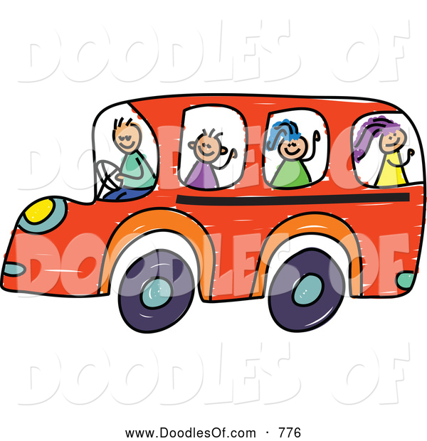 Vector Clipart of a Doodle of Children on an Orange School Bus