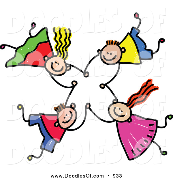 Vector Clipart of a Doodle of Four Kids Holding Hands While Falling