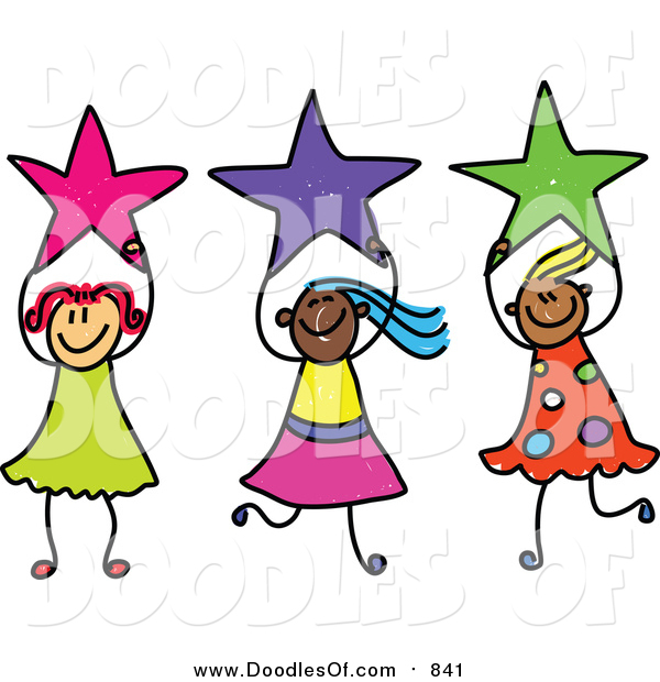 Vector Clipart of a Doodle of Girls Holding Stars