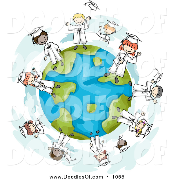 Vector Clipart of a Doodle of Graduate Kids on a Globe