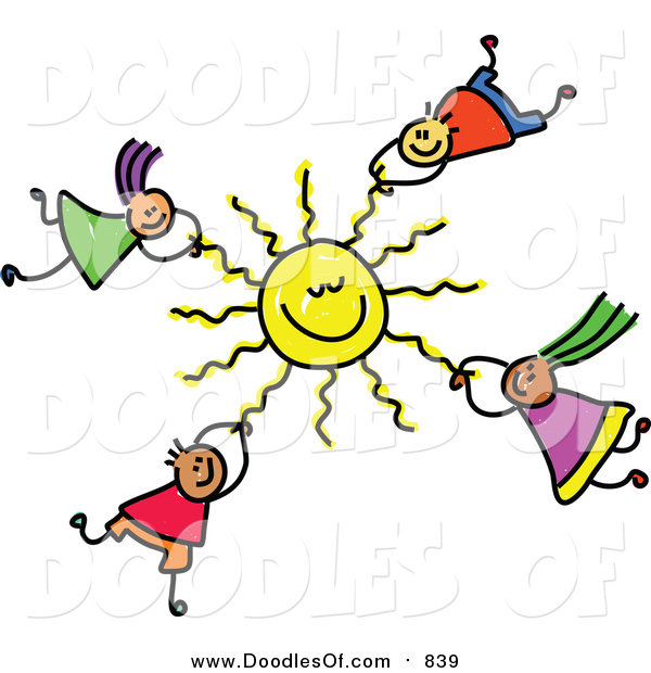 Vector Clipart of a Doodle of Kids Hanging onto a Sun