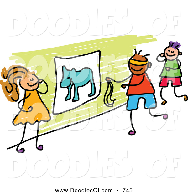 Vector Clipart of a Doodle of Kids Playing Pin the Tail on the Donkey
