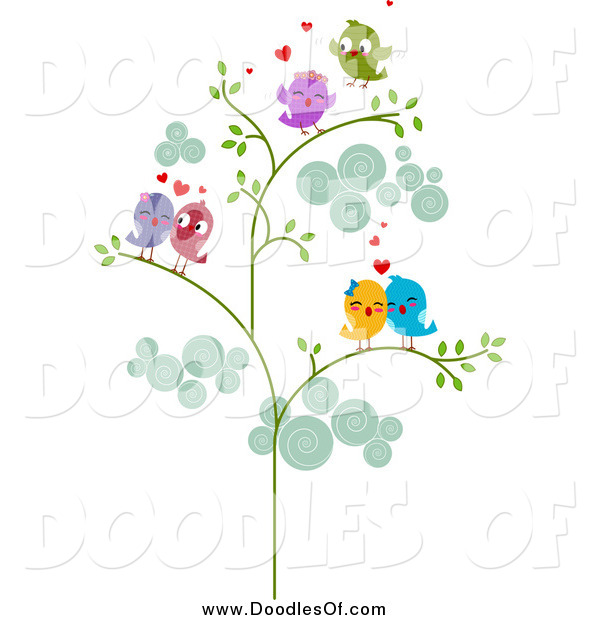 Vector Clipart of a Doodle of Love Bird Couples in a Tree