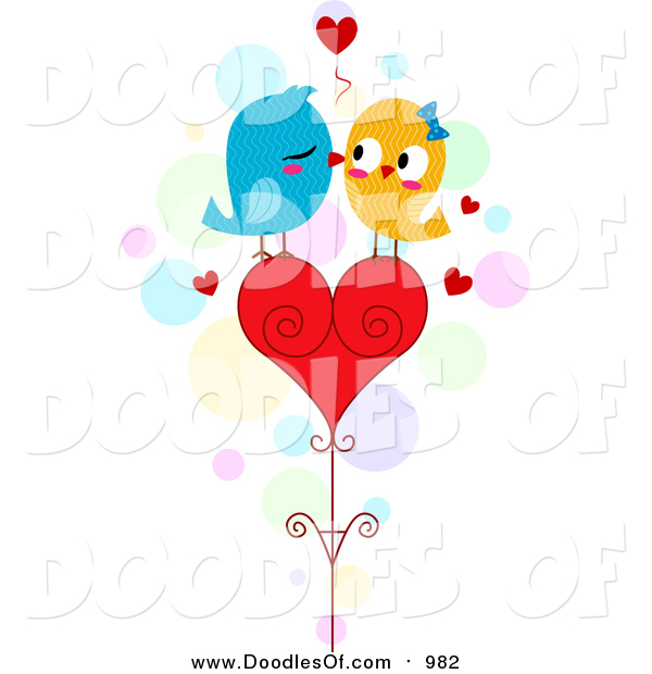 Vector Clipart of a Doodle of Love Birds Kissing on a Heart